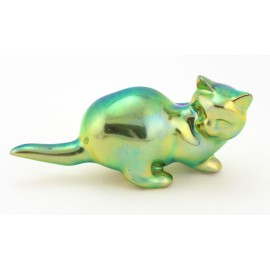Zsolnay Iridescent Eosin Cat Figurine