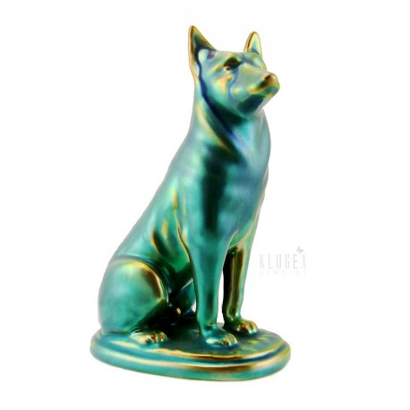 Zsolnay Eosin German Shepherd Dog Figurine