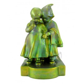 Antique Zsolnay Eosin Girl with Boy Figurine