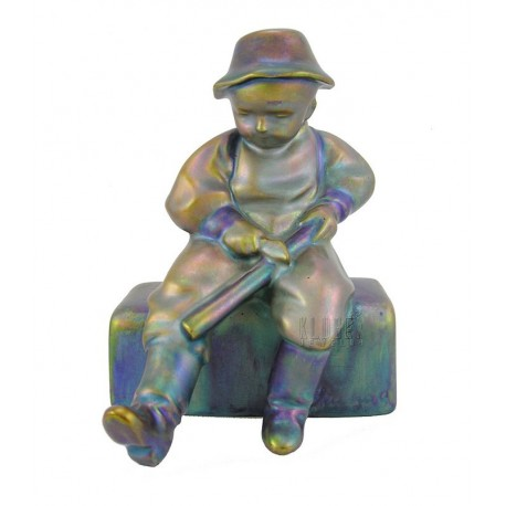 Antique Zsolnay Eosin Peasant Boy Figurine